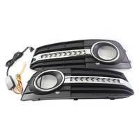 Front Bumper Center Lower Grille Turn signal Light kit For 09 11 Audi A4 B8