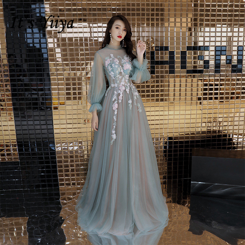 It's YiiYa   Evening     Dress   Full Appliques Beading Pearls Wedding Formal   Dresses   Illusion Lace Latern Sleeve Long Party Gown E084
