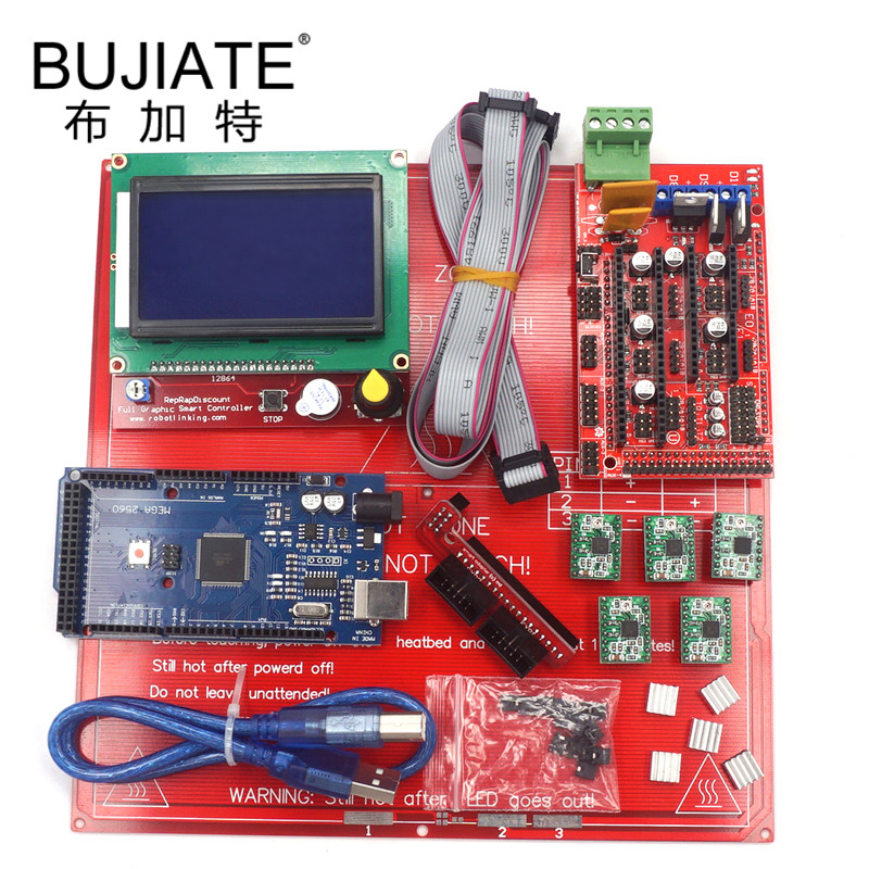 Motherboard Set Mega 2560 R3 PCB Heatbed MK2B RAMPS 1.4 Controller Board A4988 Stepper Driver Module Part 3D Printers Kit Parts цены