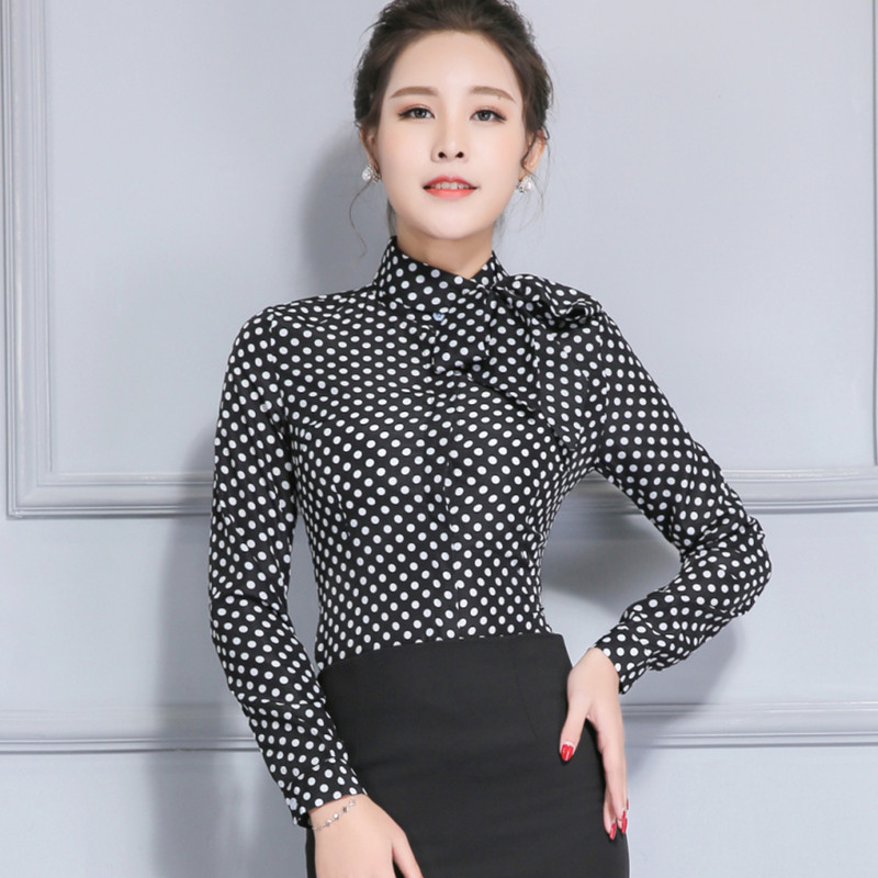 df5f8873 Aliexpress.com : Buy Women's Long Sleeve Shirt Polka Dot Tie Bow Neck Button  End Slim Fit Office Chiffon Blouse Spring Autumn Work Wear Tops from  Reliable ...