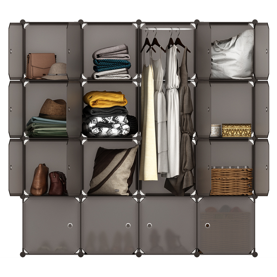 Langria 16 Cube Organizer Stackable Plastic Cube Storage Shelves