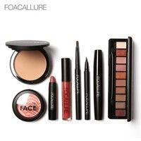 Women Makeup Kits Professional 8pcs Face Blusher Powder Kits Lips Lipstick Pencils Eyeliner Eyebrow Sets Focallure