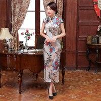 ฤดูร้อนใหม่หญิงซาตินยาวC Heongsam Qipaoจีนสไตล์พิมพ์ดอกไม้เดรสเซ็กซี่คลับสวมใส่ขนาดSml XL XXL XXXL