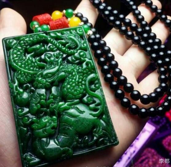 Naturel dragon essence tigre féroce pendentif Dragon Phoenix marque chandail chaîne + corde collier