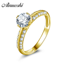 AINUOSHI 10k Solid Yellow Gold Wedding Ring 0.8 Carat Round Cut Simulated Diamond Anillos Mujer Fashion Bridal Engagement Rings