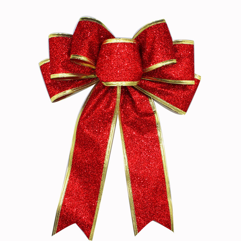 Christmas Tree Bows Decorations: Geinne Red, Silver, Gold, Glitter, Golden Onion Powder