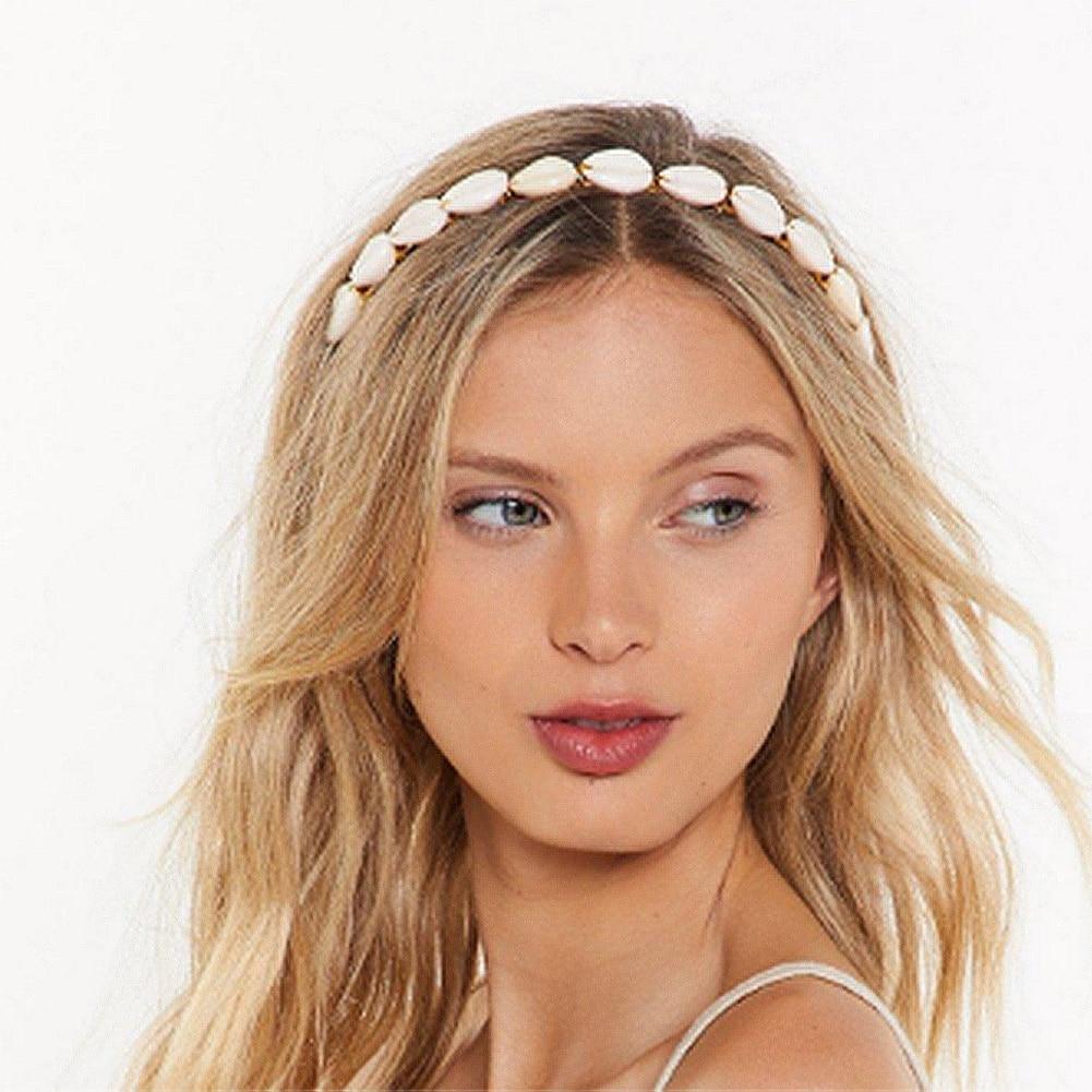 Flatfoosie Fashion Boho Ethnic Shell Pearl Hair Clip Bands Headband Bridal Hair Accessories Head Wear Hairband Head Hoop Jewelry