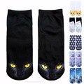 2016 nova chegada 3d impresso corte baixo ped socks 9 cores kawaii carton cat animal engraçado meias mulheres