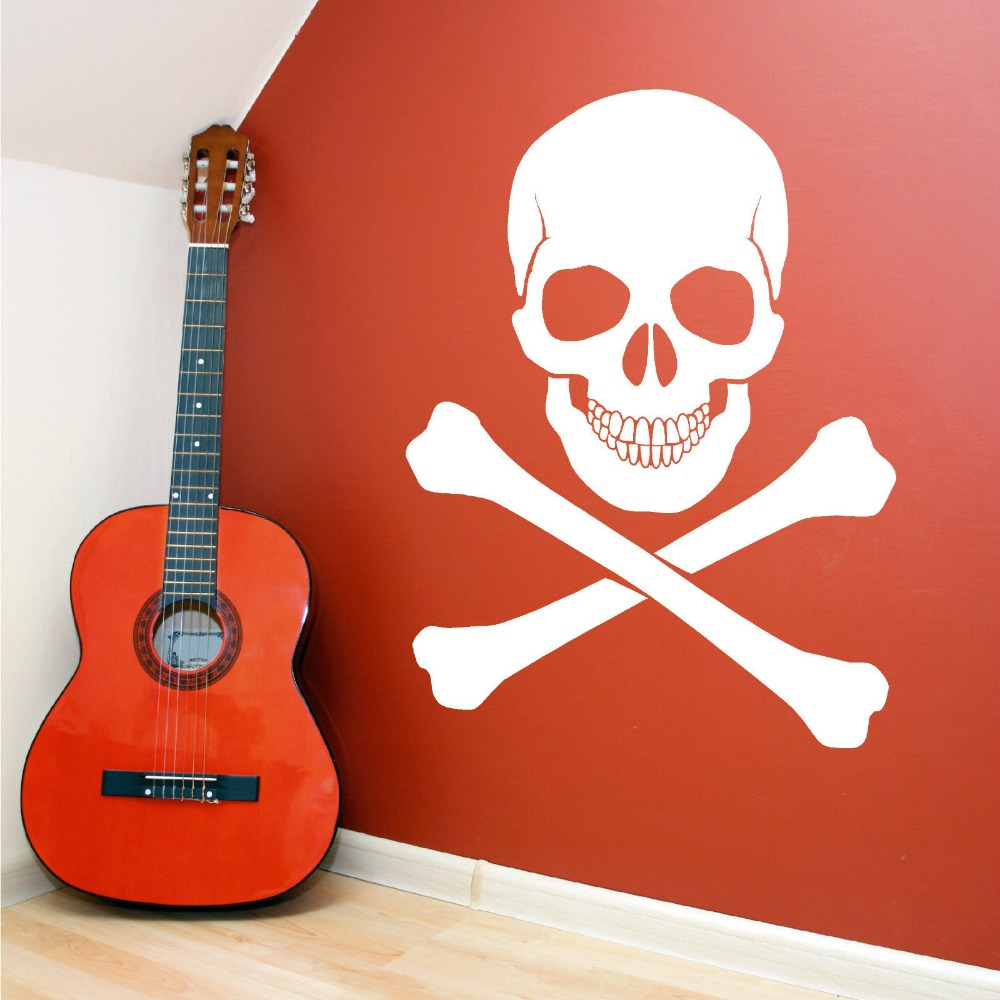 Personality terror pirate skull sticker Home Art mural vinyl wall stickers removable decals decorative F-160