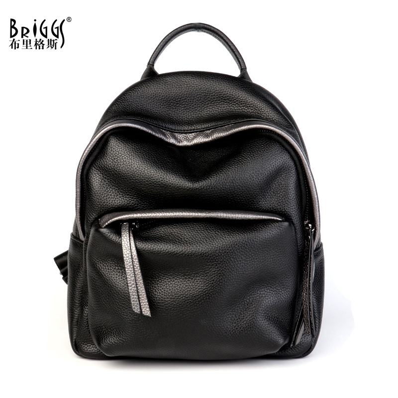 BRIGGS Women Backpack High Quality Genuine Leather Backpacks For Teenage Girls Female School Shoulder Bag Backpack mochila briggs famous brand women backpack soft genuine leather backpacks school bag high quality leather travel bag for teenage girl