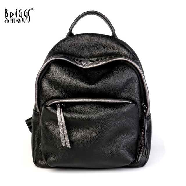 b2b82a543b BRIGGS Women Backpack High Quality Genuine Leather Backpacks For Teenage  Girls Female School Shoulder Bag Backpack mochila