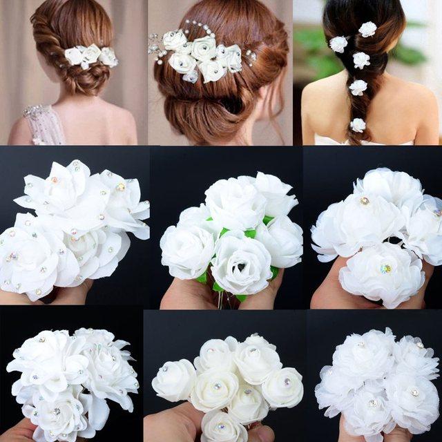 5PCS Wedding Bridal Hairpin White Rose Flower Crystal Rhinestone Hair Pin Beauty