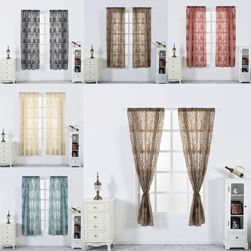 5 Colors Bedroom Curtains Lantern Cut Flower Bubble Print Blinds Living Room Half Blackout Curtain or Background for Shop Window(China)