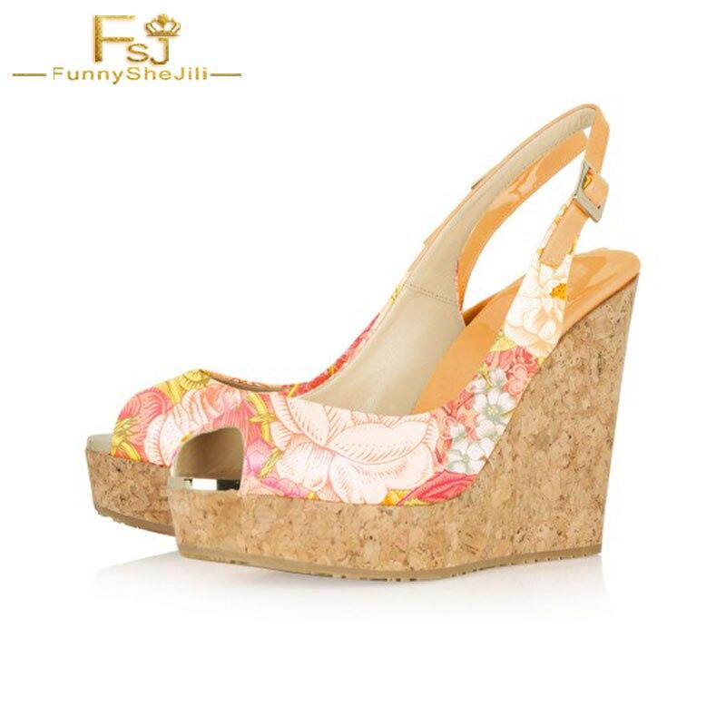 Slingbackbig forme 13 Automne Peep Dames Compensées Chaussures Imprimé Taille Fsj Shoes11 Toe 2108 Femmes Floral 12 Cork Talons Plate Fsj01 Printemps Pompes f4Wqaw
