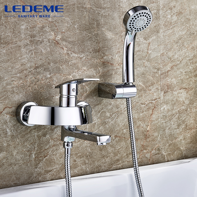 LEDEME Brass Hot And Cold Bath Faucet Bathroom Faucet Set Bathroom Mixer With Hand Spray Shower Mixer Taps Bathtub Faucet L3170 cold steel hand and a half sword санкт петербург
