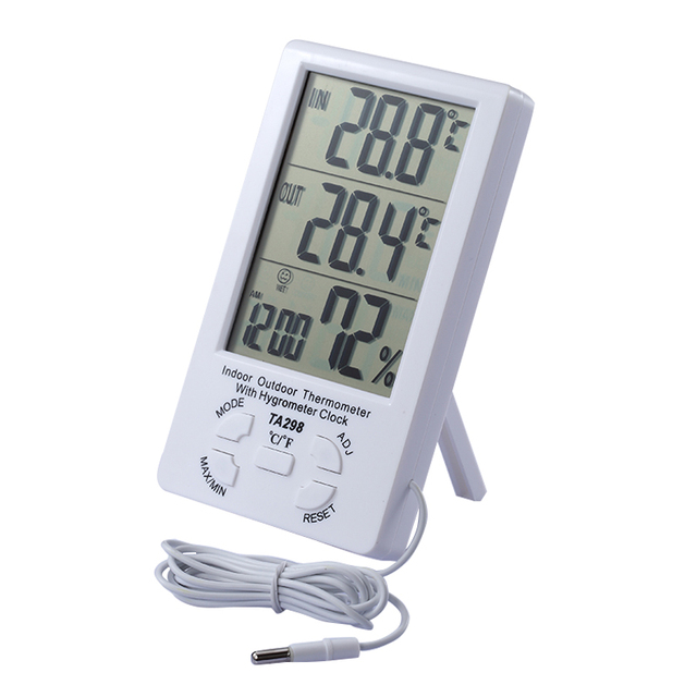 Beautiful Indoor Outdoor Wire Thermometer Indoor Outdoor Temperature Gauge House  Thermometer Inside Thermometer TA298 With Clock Dispaly