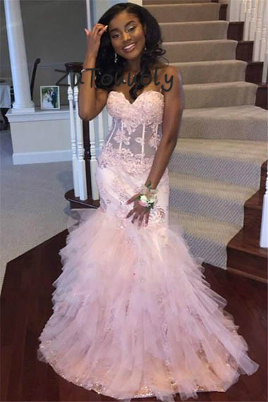 Pink Mermaid   Prom     Dress   Elegant Long Evening   Dresses   Turkey Sweetheart Appliques Beaded Graduation   Dress   For Black Girls 2019