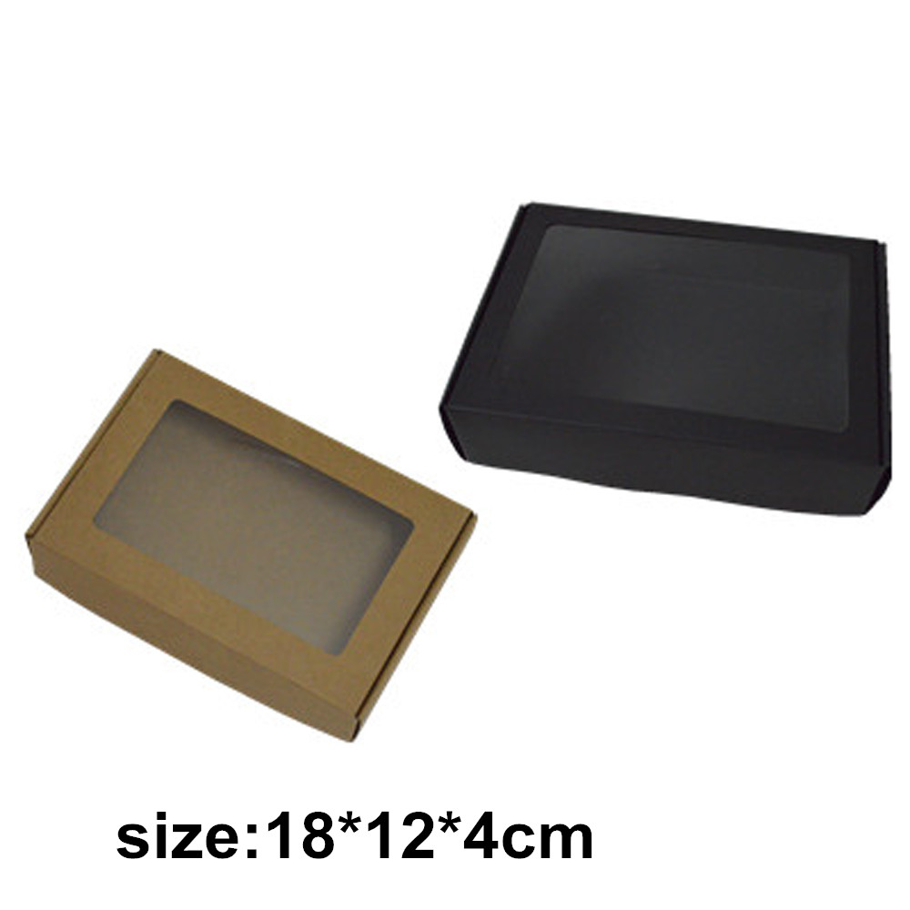 500pcs black kraft rectangle candy boxes folding paper box clear ...