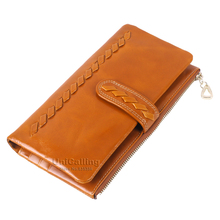Fashion brand Oil Wax Cowhide zipper Hasp Long women wallets Pure hand woven solid color soft mini Card Holder Lady Purse