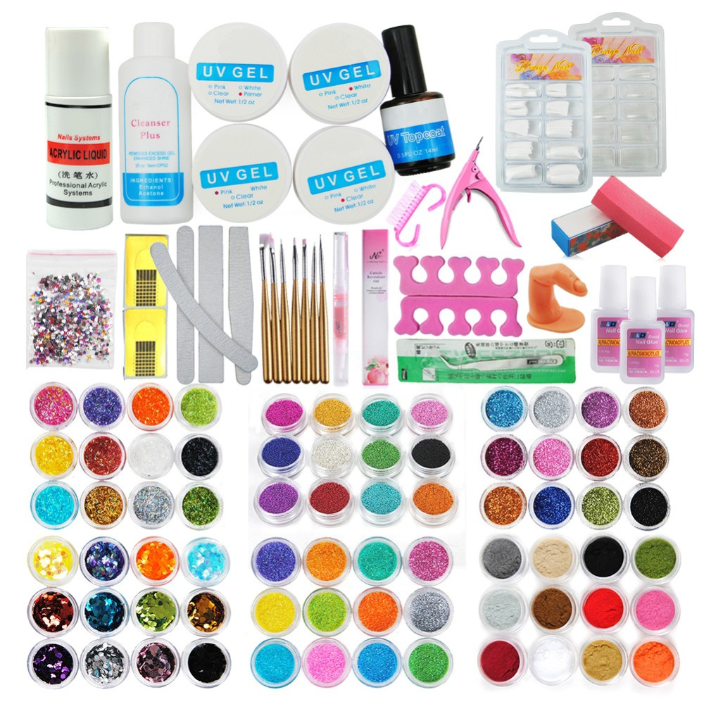 Image 1 - 72 Colors Acrylic Glitter Powder Kit Nail Art Decorations Set Brush For Nail Pusher Varnish Semi Permanent Uv Set-in Sets & Kits from Beauty & Health