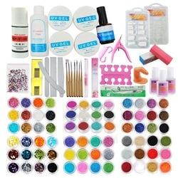 72 Colors Acrylic Glitter Powder Kit Nail Art Decorations Set Brush For Nail Pusher Varnish Semi Permanent Uv Set