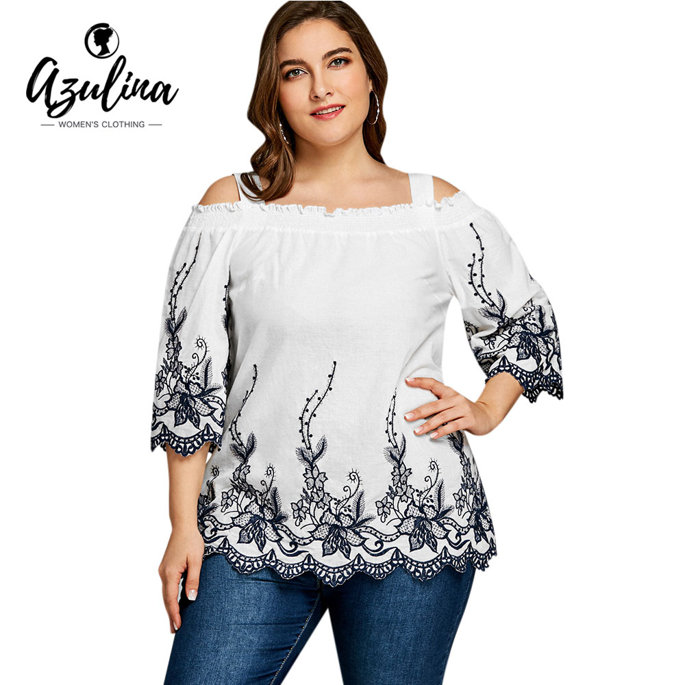Rosegal Plus Size Flower Broderie Top Casual Square Neck 3/4 Sleeve   Blouse   Women   Blouses     Shirts   2018 Summer Big Size Ladies Tops