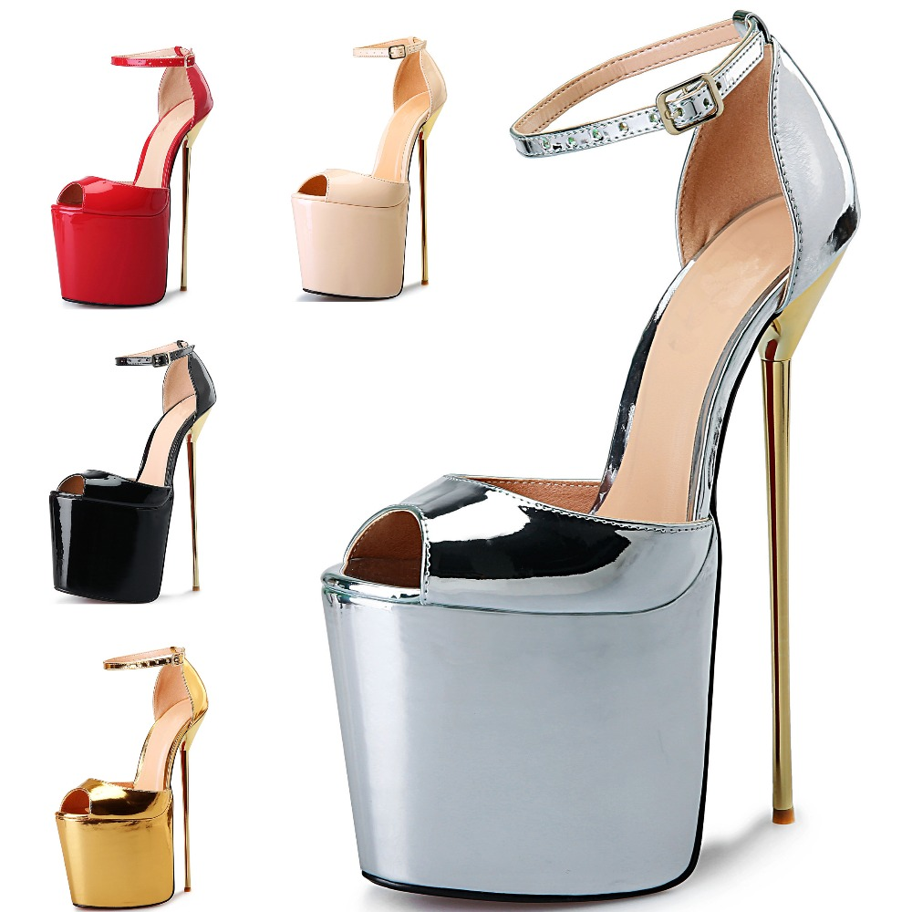 Plus size 41-50 women sexy silver & gold peep toe ankle strap on the platform 22 cm extreme ever after metal high heels sandals триммер бензиновый бензокоса husqvarna 323r