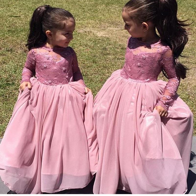 1885e5b9c96 Old Purple Full Sleeves Flower Girl Dress 2017 Fashion Cheap Chiffon Flower  Girl Gown A-line Girls Long Pageant Dresses
