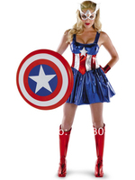 New 2014 Captain America Shiny Metallic Superhero Woman Dress