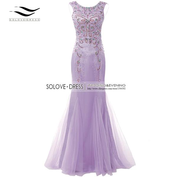 Элегантная ткань Накладка для кнопки рукав Кристалл бисером длинное платье выпускного вечера тюль русалка платье выпускного вечера Longo Vestido de festa(SLP-011 - Цвет: Lilac