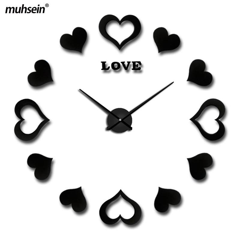 2018 muhsein New Wall Clock Stickers Home Decor Poster Diy Acrylic Large 3d Mirror Brief Digital Living Room Wall Clocks Horse