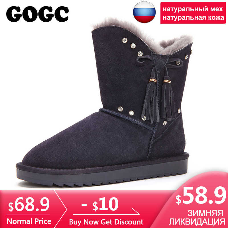 GOGC Fur Genuine Leather Winter Shoes Women Wool Crystal Winter Boots Women  Brand New Women s Boots 901cf12a28c9