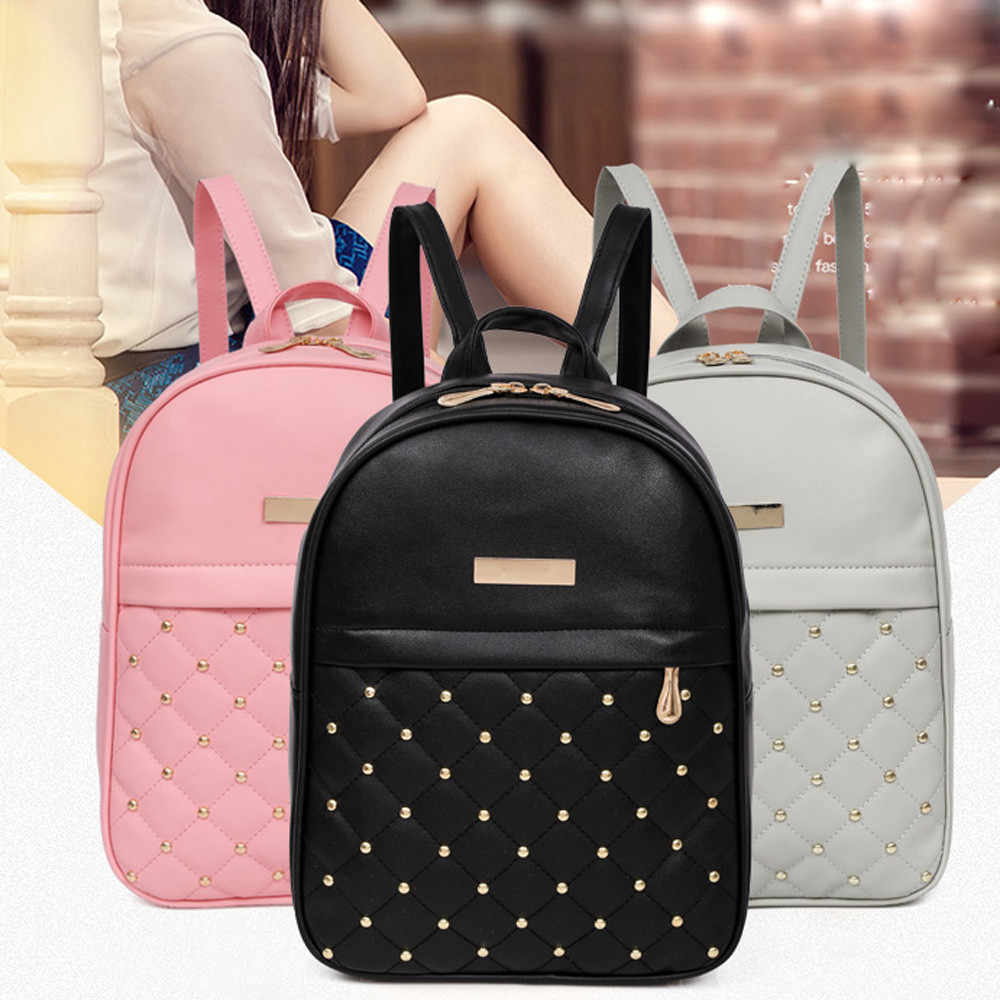 OCARDIAN Woman packet Fashion Causal Bags Bead Female Shoulder Bag Backpacks Women Rivet Backpack dropship 19M12