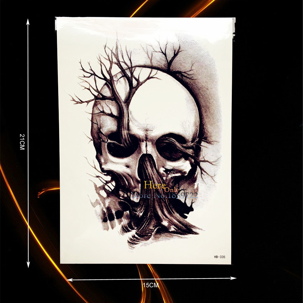 1PC New Design Death Skull Tree Tattoo For Men Women Body Art Temporary Arm Tattoo Sleeve Sticker Waterproof Leg Tatoos HHB-335