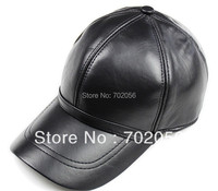 2013 Mens Real Sheepskin Leather Visors Ball Caps Casual HAT CAP WITH EARWAMER 12pcs Lot 3111