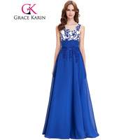 Grace karinชุดราตรีแขนกุดa ppliquesชีฟองราคาถูกยาวพรหมแต่งงานพรรคชุดroyal blueชุดพิเศษ