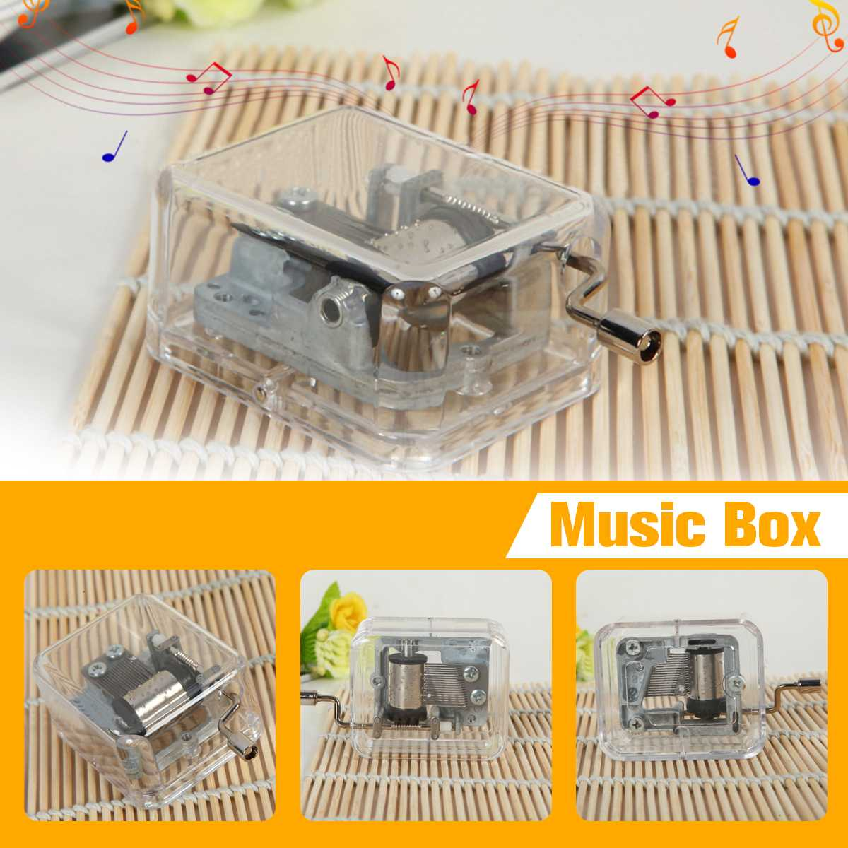 Create Transparent Music Box Acrylic Songs Multiple Tunes Hand Crank Music Box Party Decorations Christmas Girl Birthday Gifts image