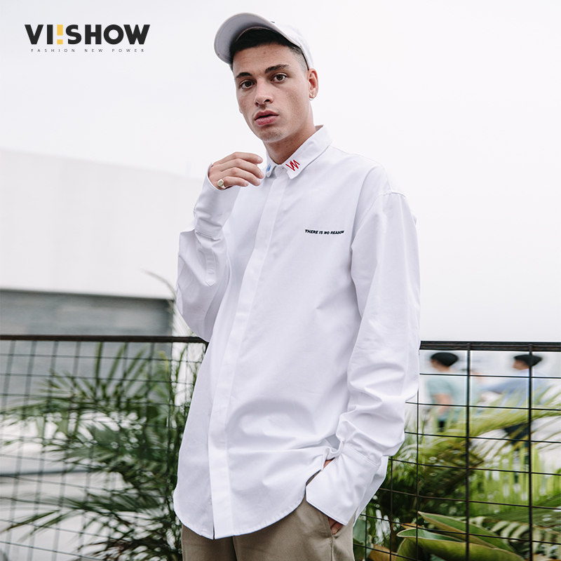 VIISHOW New Arrival Casual Shirt Men Brand Spring Long Sleeve Shirt Male Top Quality 100% Cotton White Mens Clothes CC1691181 ...