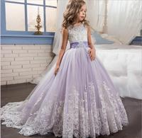 2017 New Style Princess Baby Girls Toddler Lace Tutu Communion Dress Layered Party Wedding Bow Formal