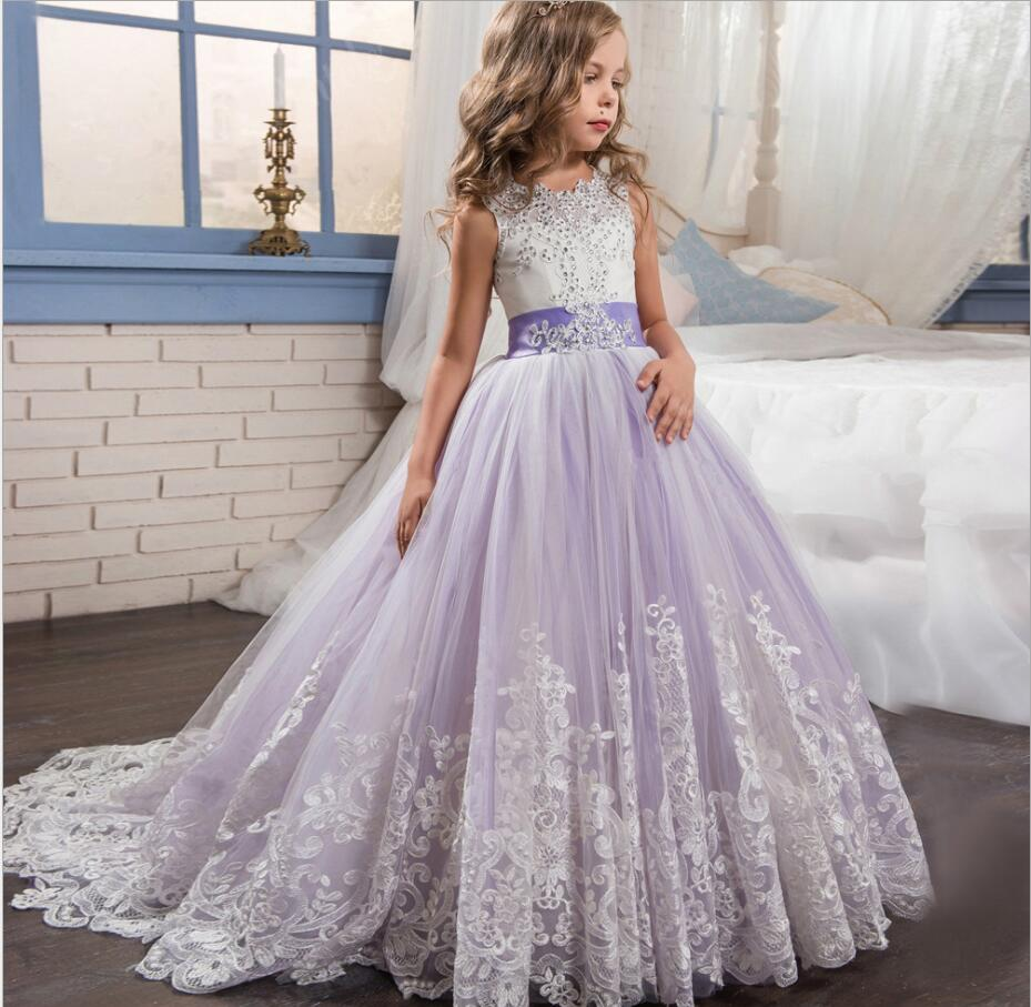 2017 New Style Princess Baby Girls Toddler Lace Tutu Communion Dress Layered Party Wedding Bow Formal  Flower Pageant HW1073