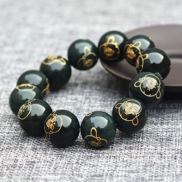 (Certificate) Drop Shipping Natural Dark Green HETIAN Stone Buddha Beads  Round Bracelets Bronzing Bangles Men's Jades Jewelry-in Strand Bracelets  from