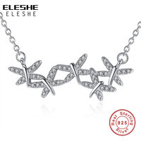 BELAWANG 925 Sterling Silver Statement Necklace With Long Chain Crystal Five CZ Vivid Dragonfly Necklaces Pendants