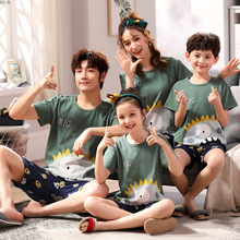 Summer Parent Child Pyjamas Cotton Family Matching Clothes Cartoon Short Sleeve Outfits Mom Dad Son and Daughter Sleepwear Set