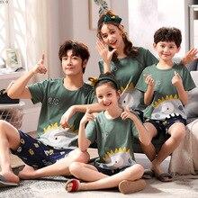 Verão pai filho pijamas de algodão família roupas combinando desenhos animados manga curta roupas mãe pai filho e filha conjunto de pijamas
