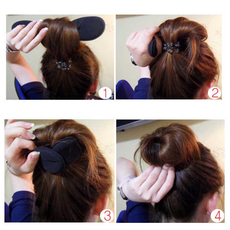 2 sztuk akcesoria do włosów kobiety pianki gąbka suszarka do włosów urządzenie pączek do włosów Quick Messy Bun ekspres do kawy narzędzia kobiet oplatania narzędzia