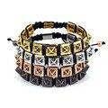 Men Anil Arjandas Bracelet & Bangles Titanium Stainless Steel 24k Gold Plated CZ Nail Fashion Men Bracelet Chirstmas Gift