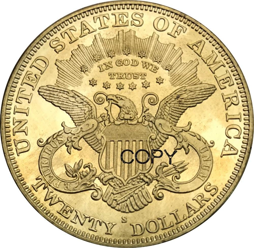 Estados unidos 1891 1891 cc 1891 s 20 VINTE DÓLARES Dólares Liberty Head-Double Eagle com lema Bronze Metal cópia Moeda