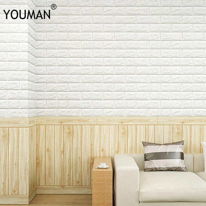 Us 2 82 32 Off Wallpapers Youman 70cm X 15cm Pe Foam Waterproof Self Adhesive Wallpaper Pe Peel Stick 3d Brick Panel Home Decor For Kids 3d Art In