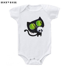 LUCKY ROLL Newborn Bodysuits 0-24M Summer Infant Jumpsuits Cartoon Black Cat Printed Kids Outfits Short Sleeve Boys Girls Onesie(China)
