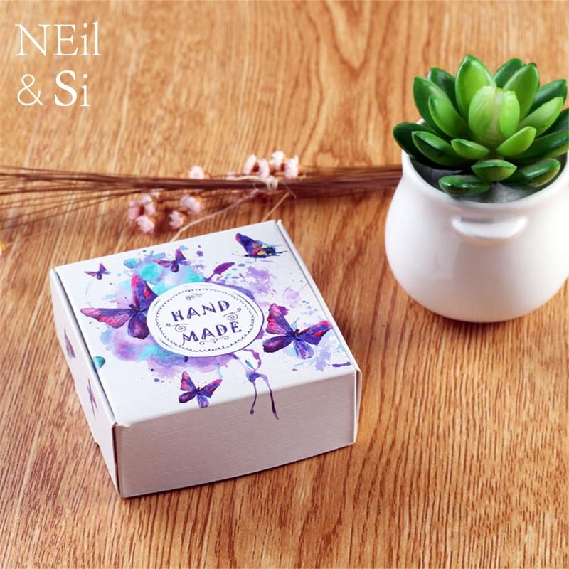 Boîte de papier cadeau faveur de mariage bonbons manuel à la main savon Macarons boîtes d'emballage fleur papillon imprimé livraison gratuite-in Sacs-cadeaux et emballages from Maison & Animalerie    1
